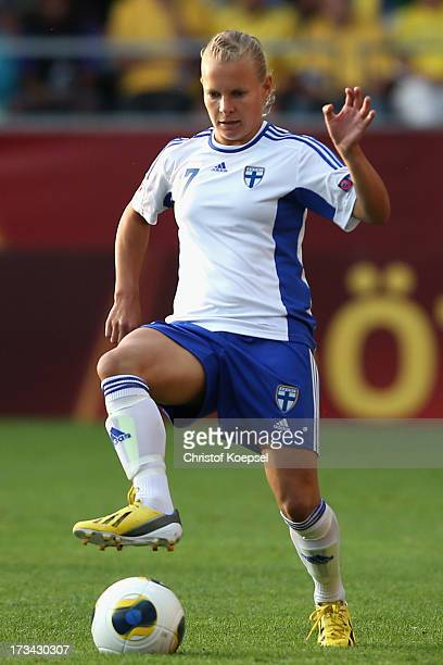 Lisa Dahlkvist of Sweden runs with the ball during the UEFA Women's EURO 2013 Group A match between Finland and Sweden at Gamla Ullevi Stadium on...