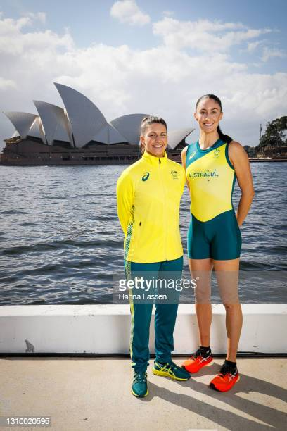 Lisa Darmanin and Katie Ebzery pose during the Australian Olympic Team Tokyo 2020 uniform unveiling at the Overseas Passenger Terminal on March 31,...