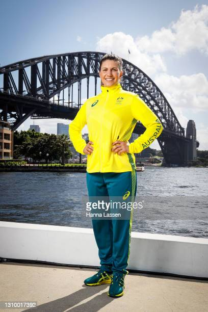 Lisa Darmanin poses during the Australian Olympic Team Tokyo 2020 uniform unveiling at the Overseas Passenger Terminal on March 31, 2021 in Sydney,...