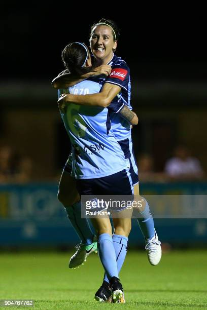 Lisa De Vanna and Chloe Logarzo of Sydney celebrate a goal during the round 11 WLeague match between the Perth Glory and Sydney FC at Dorrien Gardens...