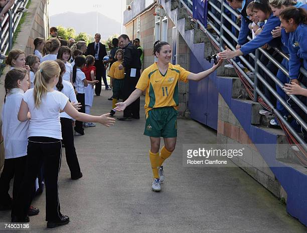 Lisa De Vanna of Australia acknowledges the fans prior to the Olympic Qualification match between Australia and North Korea at BCU International...