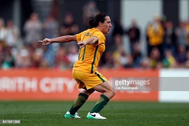 Lisa De Vanna of Australia celebrates after scoring a goal during the women's international match between the Australian Matildas and Brazil at...