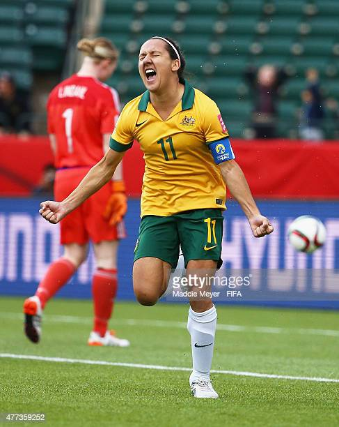 Lisa De Vanna of Australia celebrates after scoring against Sweden during the Women's World Cup 2015 Group D match at Commonwealth Stadium on June 16...