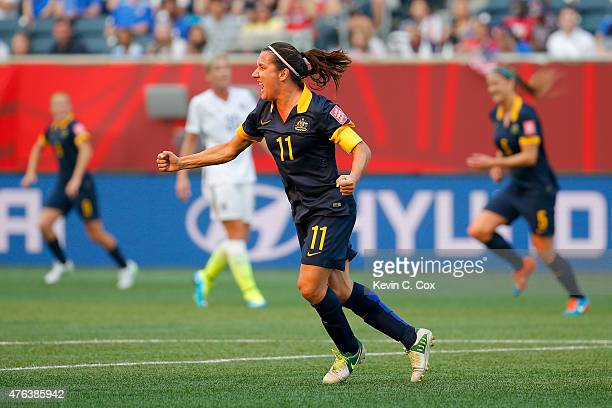 Lisa De Vanna of Australia celebrates after she scores a first half goal against the United States during the FIFA Women's World Cup 2015 Group D...