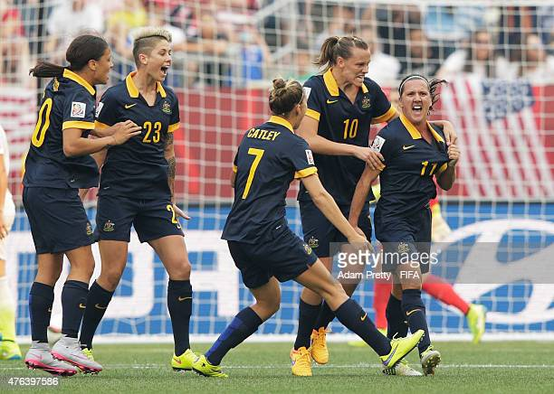 Lisa De Vanna of Australia celebrates scoring a goal during the FIFA Women's World Cup Canada 2015 Group D match between USA and Australia at...