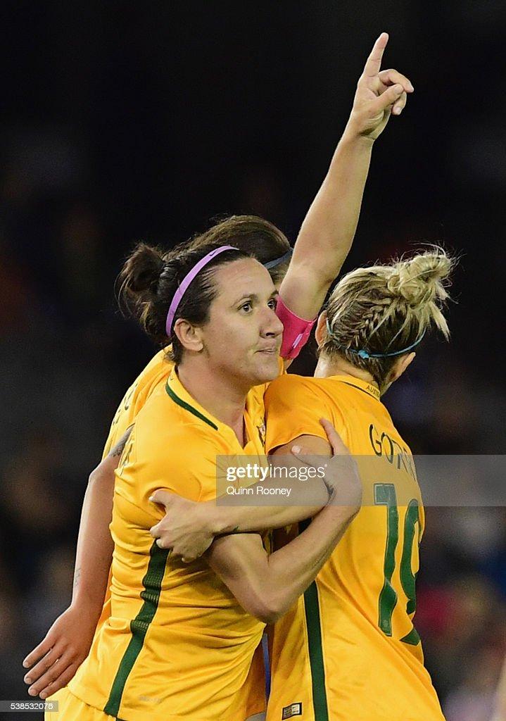 Lisa De Vanna of Australia celebrates scoring a goal during the Women's International Friendly match between the Australia Matildas and the New Zealand Football Ferns at Etihad Stadium on June 7, 2016 in Melbourne, Australia.