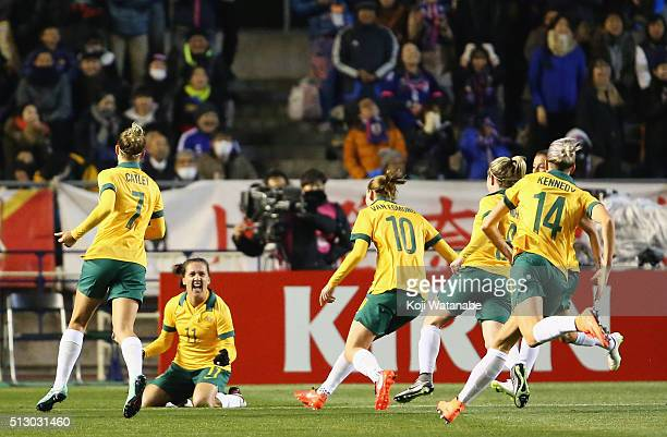 Lisa De Vanna of Australia celebrates scoring her team's first goal with her team mates during the AFC Women's Olympic Final Qualification Round...