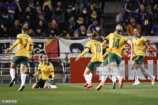Lisa de Vanna of Australia celebrates the opener during the AFC Women's Olympic Final Qualification Round match between Australia and Japan at Kincho...
