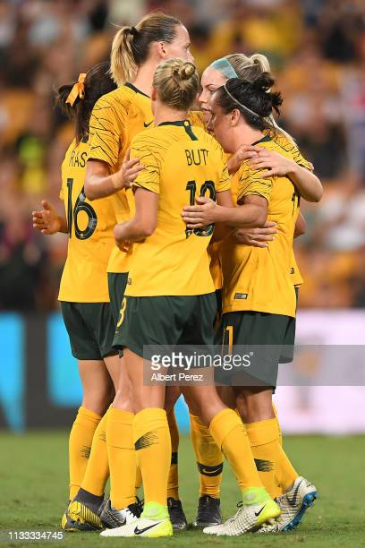 Lisa De Vanna of Australia celebrates with team mates after scoring her side's second goal during the 2019 Cup of Nations match between Australia and...