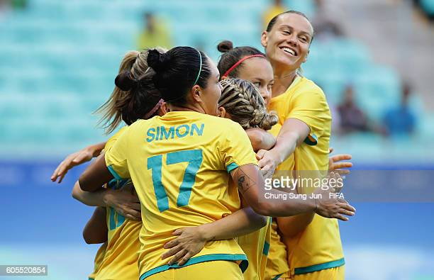 Lisa de Vanna of Australia celebrates with with her team mates after scoring a goal during the Women's Football match between Austrlia and Zimbabwe...