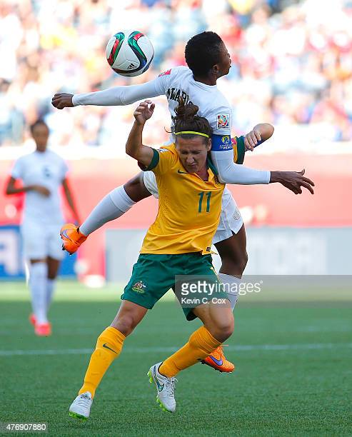 Lisa De Vanna of Australia challenges Evelyn Nwabuoku of Nigeria for a header during the FIFA Women's World Cup Canada 2015 match between Australia...
