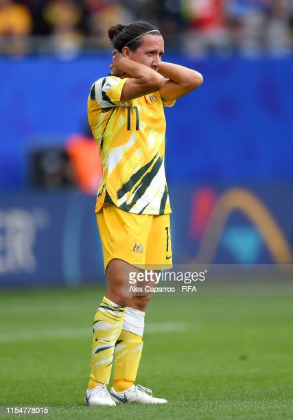 Lisa De Vanna of Australia looks dejected during the 2019 FIFA Women's World Cup France group C match between Australia and Italy at Stade du Hainaut...