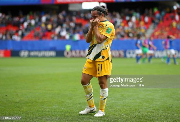 Lisa De Vanna of Australia looks dejected following her sides defeat in the 2019 FIFA Women's World Cup France group C match between Australia and...