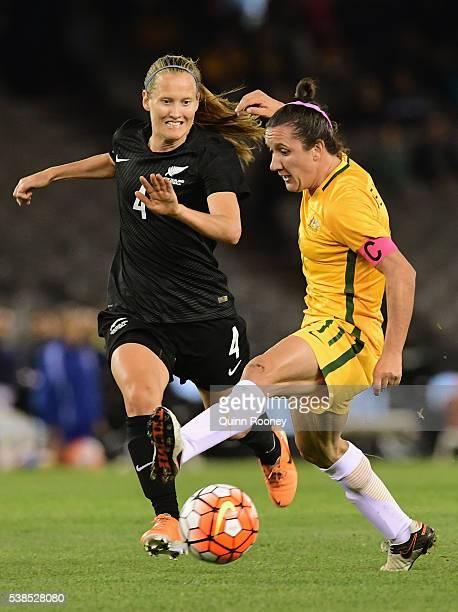 Lisa De Vanna of Australia passes infront of Katie Duncan of New Zealand during the Women's International Friendly match between the Australia...