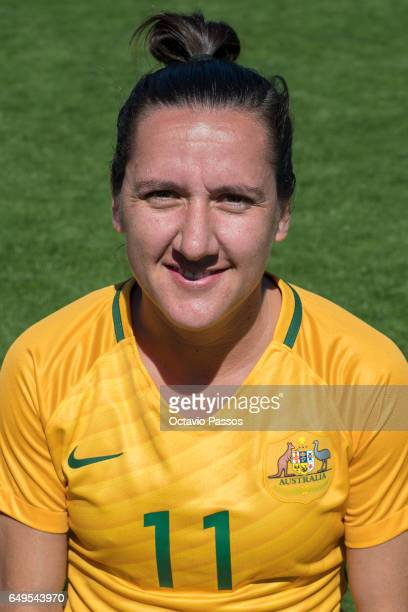 Lisa De Vanna of Australia poses for a portrait prior the Women's Algarve Cup Tournament match between Australia and Denmark at Municipal de...