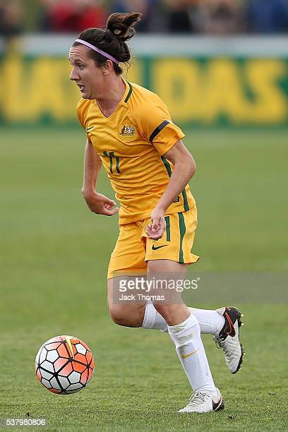 Lisa De Vanna of Australia runs with the ball during the women's international friendly match between the Australian Matildas and the New Zealand...