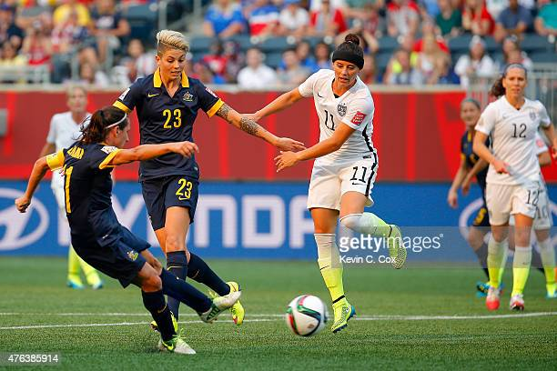 Lisa De Vanna of Australia scores a first half goal against the United States during the FIFA Women's World Cup 2015 Group D match at Winnipeg...