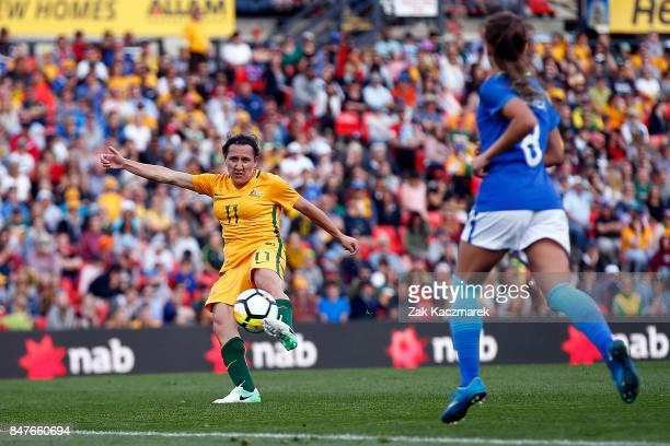 Lisa De Vanna of Australia scores a volley during the women's international match between the Australian Matildas and Brazil at Pepper Stadium on...