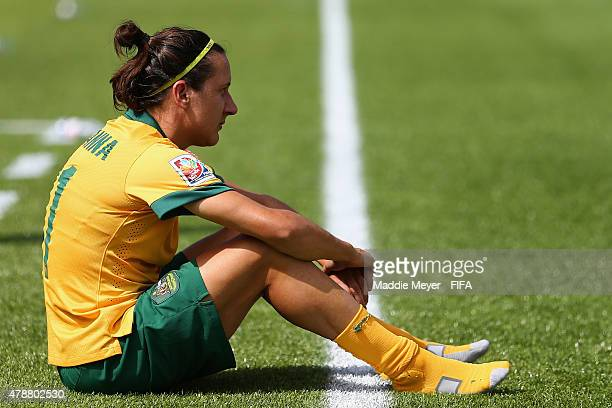 Lisa De Vanna of Australia sits on the sideline after her teams 10 loss to Japan after their FIFA Women's World Cup Canada 2015 quarter final match...