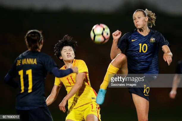 Lisa de Vanna of Australia Women Wang Shanshan of China Women Emily van Egmond of Australia Women during the Algarve Cup Women match between...