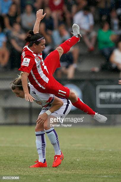 Lisa De Vanna of Melbourne City attempts to head the ball during the round 10 WLeague match between Melbourne City FC and Perth Glory at CBSmith...