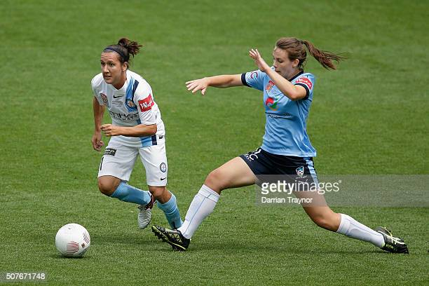 Lisa De Vanna of Melbourne City evades Natalie Tobin of Sydney FC during the 2016 WLeague Grand Final match between Melbourne Victory and Sydney FC...