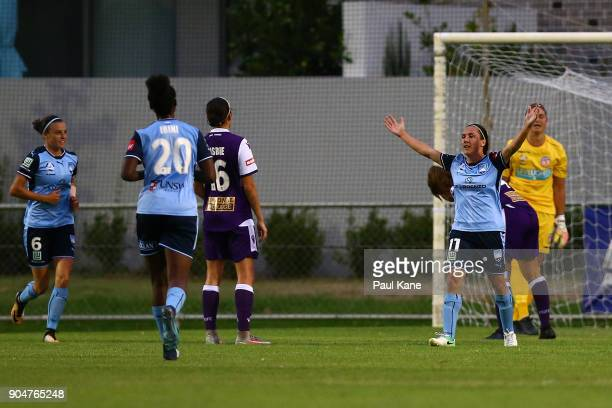 Lisa De Vanna of Sydney celebrates a goal during the round 11 WLeague match between the Perth Glory and Sydney FC at Dorrien Gardens on January 14...