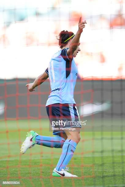 Lisa De Vanna of Sydney celebrates scoring a goal during the WLeague match between the Western Sydney Wanderers and Sydney FC at ANZ Stadium on...