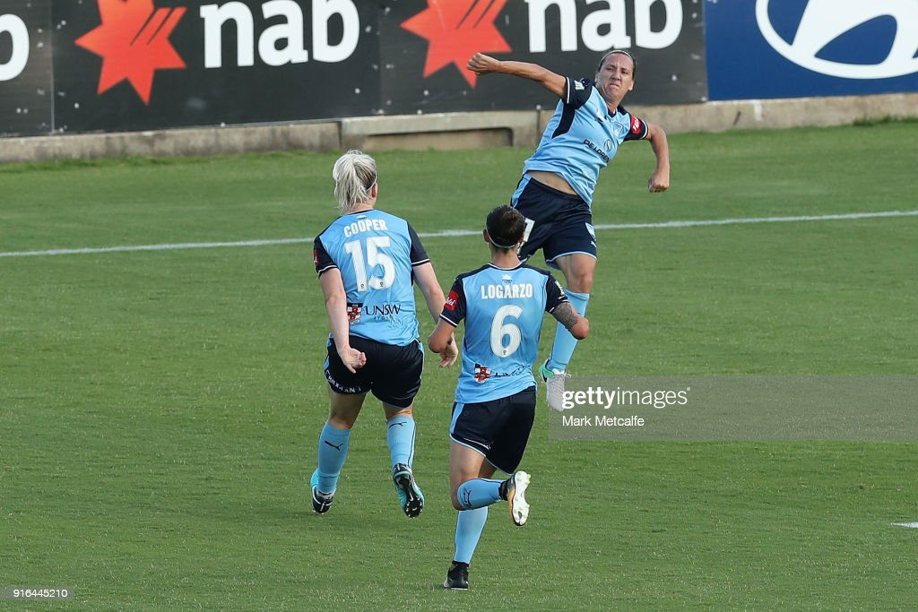 Lisa De Vanna of Sydney FC celebrates scoring a goal during the W-League semi final match between Sydney FC and the Newcastle Jets at Leichhardt Oval on February 10, 2018 in Sydney, Australia.