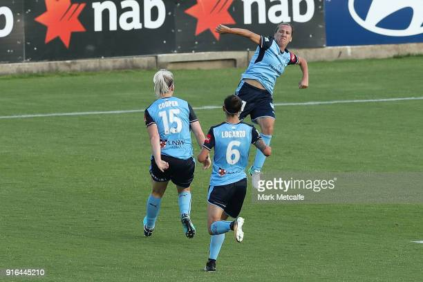 Lisa De Vanna of Sydney FC celebrates scoring a goal during the WLeague semi final match between Sydney FC and the Newcastle Jets at Leichhardt Oval...