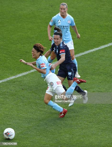 Lisa De Vanna of Sydney FC fouls Yukari Kinga of the Melbourne City during the round two WLeague match between Melbourne City and Sydney FC at AAMI...