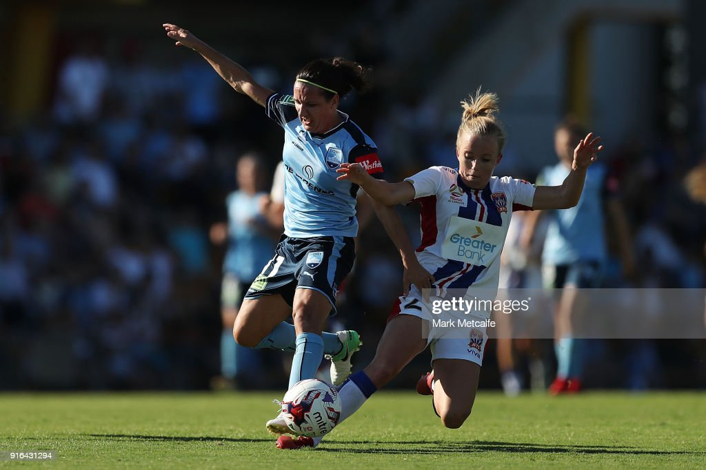 Lisa De Vanna of Sydney FC is tackled by Hannah Brewer of Newcastle Jets who received a red card for challenge during the W-League semi final match between Sydney FC and the Newcastle Jets at Leichhardt Oval on February 10, 2018 in Sydney, Australia.