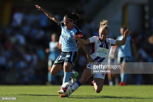 Lisa De Vanna of Sydney FC is tackled by Hannah Brewer of Newcastle Jets who received a red card for challenge during the WLeague semi final match...