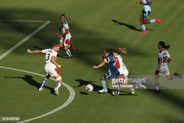 Lisa De Vanna of Sydney FC is tackled during the WLeague semi final match between Sydney FC and the Newcastle Jets at Leichhardt Oval on February 10...