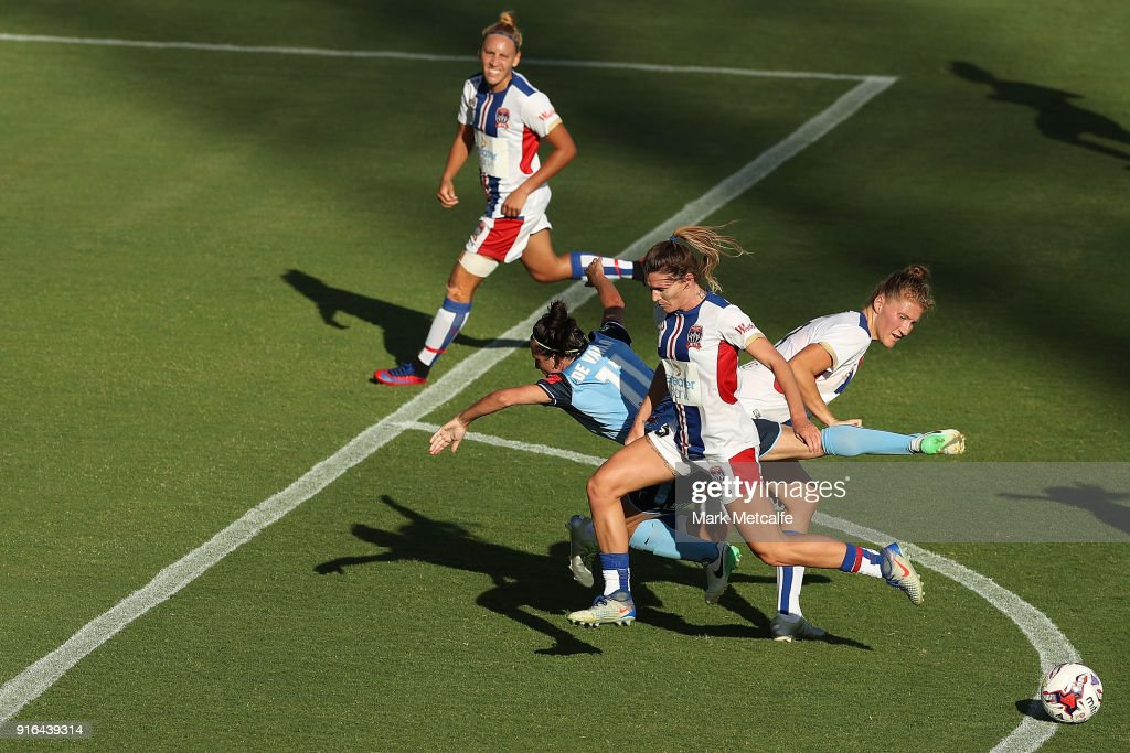 Lisa De Vanna of Sydney FC is tackled during the W-League semi final match between Sydney FC and the Newcastle Jets at Leichhardt Oval on February 10, 2018 in Sydney, Australia.