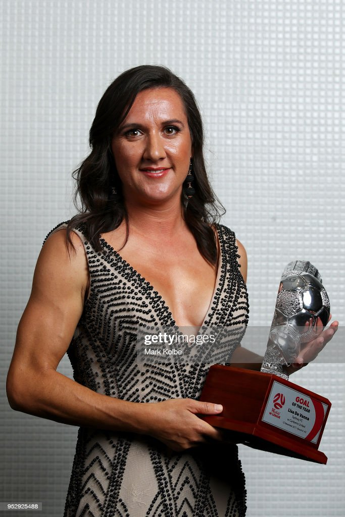 Lisa De Vanna of Sydney FC poses with the W-League Goal of the Year award during the FFA Dolan Warren Awards at The Star on April 30, 2018 in Sydney, Australia.