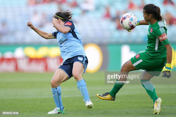 Lisa De Vanna of Sydney puts pressure on Jada MathyssenWhyman of the Wanderers during the WLeague match between the Western Sydney Wanderers and...