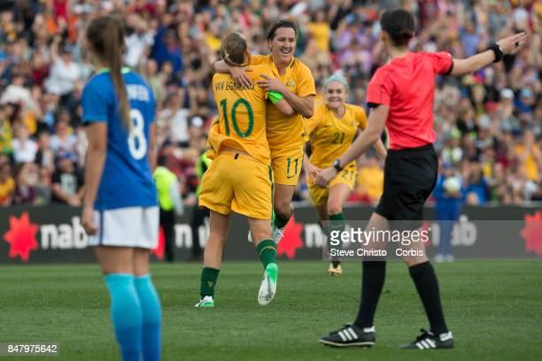 Lisa De Vanna of the Matildas celebrates scoring a goal during the women's international match between the Australian Matildas and Brazil at Pepper...