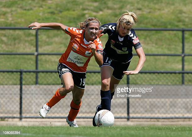 Lisa De Vanna of the Roar and Amy Jackson of the Victory fight for the ball during the round ten W-League match between the Brisbane Roar and the...