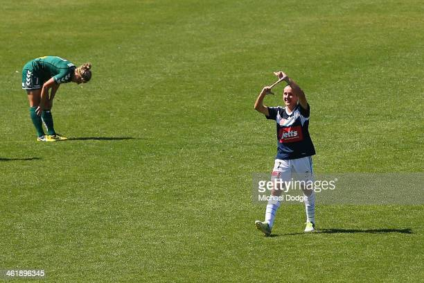 Lisa De Vanna of the Victory celebrates her goal during the round eight WLeague match between Melbourne Victory and Canberra United at Lakeside Oval...