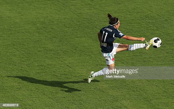 Lisa De Vanna of the Victory controls the ball during the round nine WLeague match between the Western Sydney Wanderers and the Melbourne Victory at...