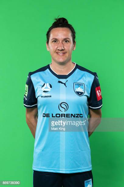 Lisa De Vanna poses during the Sydney FC WLeague headshots session at Cromer Park on October 9 2017 in Sydney Australia