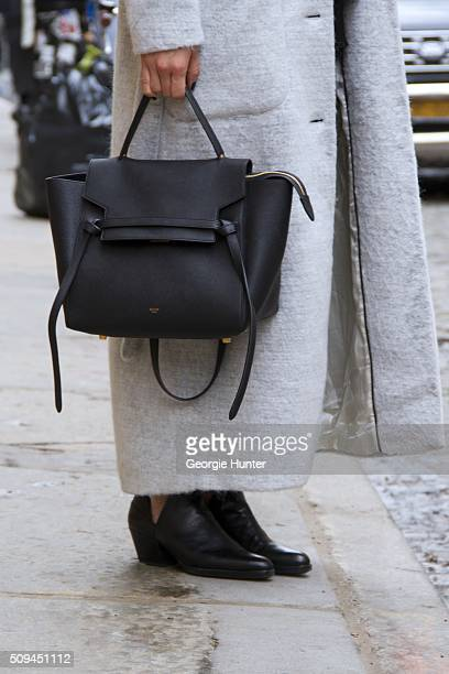Lisa Dengler seen at The Apartment by The Line outside the Protagonist presentation wearing Won Hundred light grey full length coat, black leater...