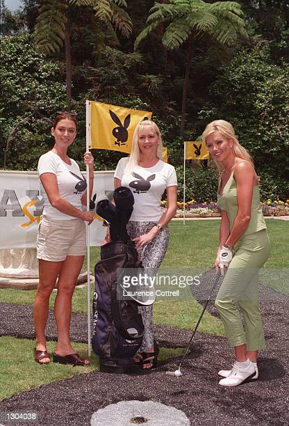 Lisa Dergan with Ava Fabian and Karen Foster at the Playboy 4 persons Golf Tournament in Bel Air, California on June 21, 2000.