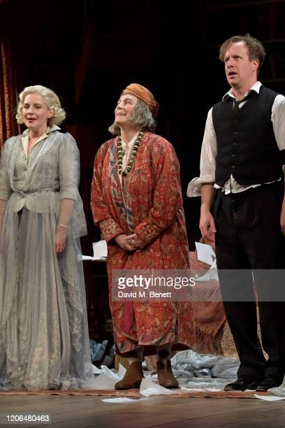 """Lisa Dillon, Jennifer Saunders and Geoffrey Streatfeild bow at the curtain call during the press night performance of """"Blithe Spirit"""" at The Duke Of..."""