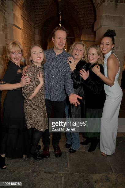 Lisa Dillon Rose Wardlaw Geoffrey Streatfeild Jennifer Saunders Lucy Robinson and Emma Naomi attend the press night after party for Blithe Spirit at...