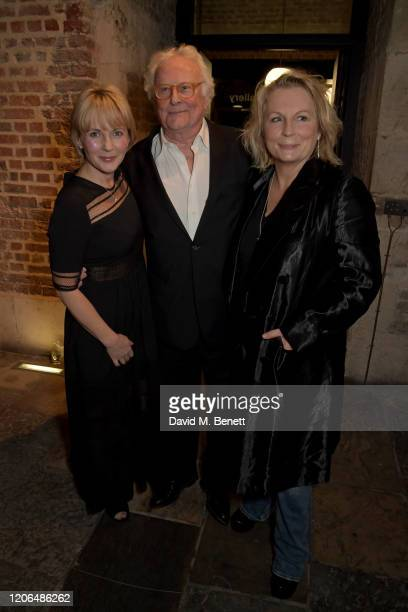 """Lisa Dillon, Sir Richard Eyre and Jennifer Saunders attend the press night after party for """"Blithe Spirit"""" at The Cafe at the Crypt on March 10, 2020..."""