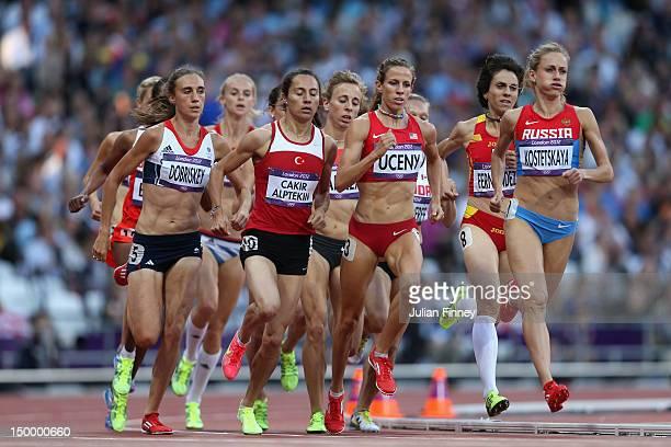 Lisa Dobriskey of Great Britain, Asli Cakir Alptekin of Turkey,Morgan Uceny of the United States and Ekaterina Kostetskaya of Russia compete in the...
