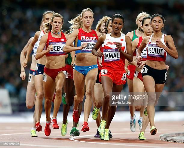 Lisa Dobriskey of Great Britain, Morgan Uceny of the United States, Ekaterina Kostetskaya of Russia, Maryam Yusuf Jamal of Bahrain and Gamze Bulut of...