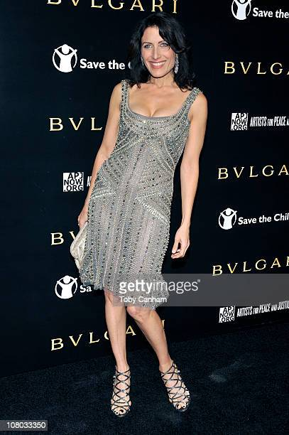 Lisa Edelstein arrives for a BVLGARI fundraiser benefitting Save The Children and Artists For Peace held at a private residence on January 13 2011 in...